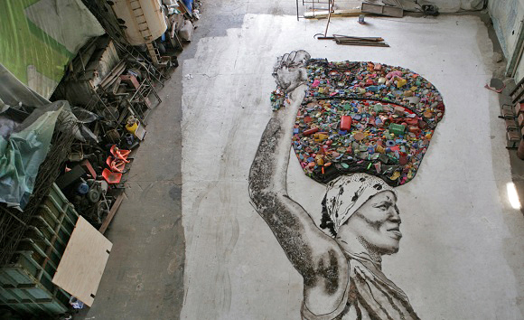 Portrait of Irma the waste picker made out of recyclable materials from Jardim Gramacho