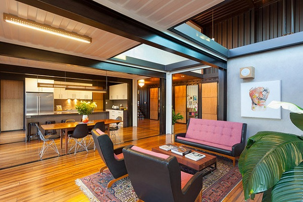 family room luxury home from shipping container