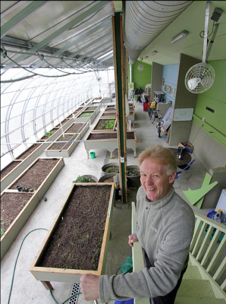 Bill Swan in the greenhouse